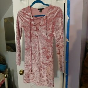 Pink crushed velvet dress